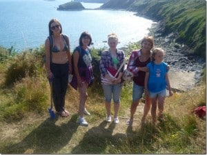Family and friends camping in Wales