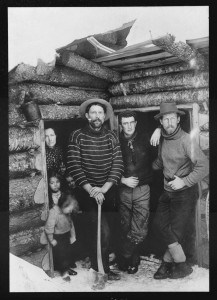 American pioneers build cabin